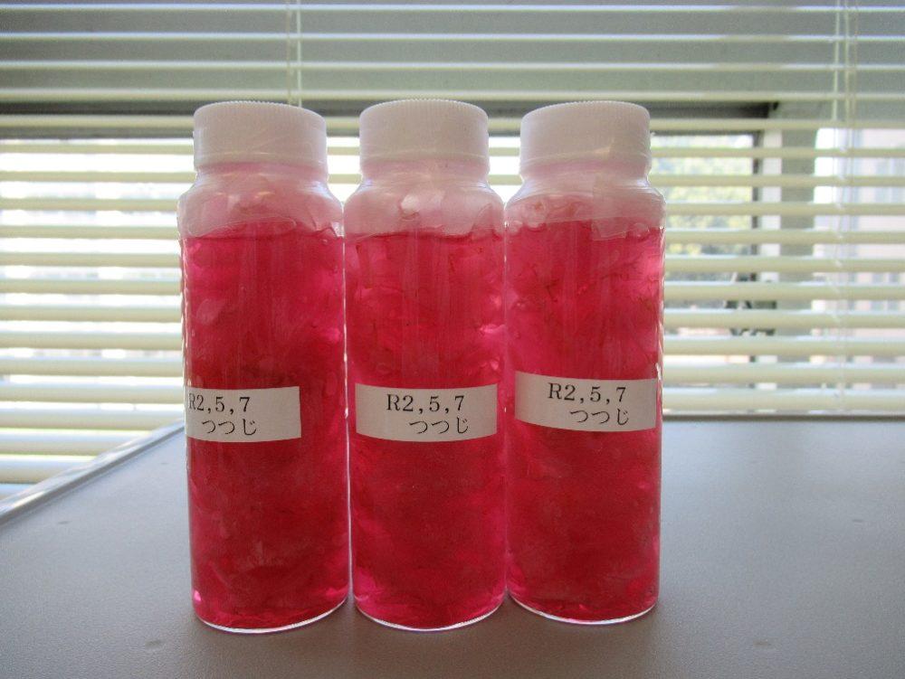 ピンク色の液体が入ったビンに令和2年5月7日のラベルが貼られている