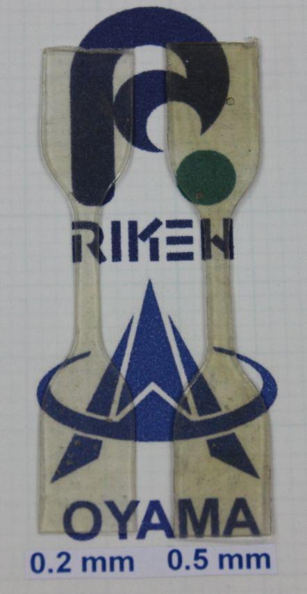 合成した熱可塑性エラストマー(TPE)。理研と小山高専のロゴが描かれたシートの上に乗っている