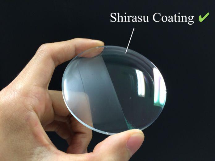 シラス薄膜をコーティングしている部分は曇らず向こうが見える
