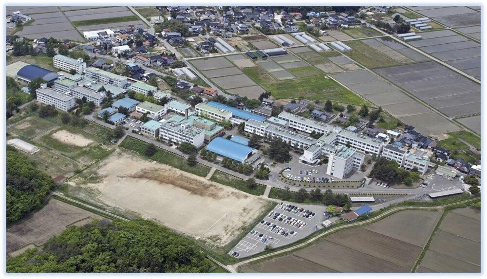 鶴岡高専を上空から撮影した写真。