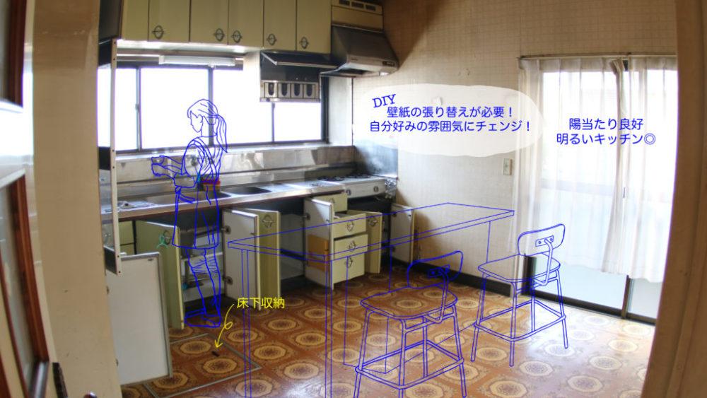 ただのキッチンを写した写真に、小山高専の学生が手書きで生活の様子を書き入れたもの。料理をする女性の姿やダイニングテーブルが青色の線で書き入れてある。