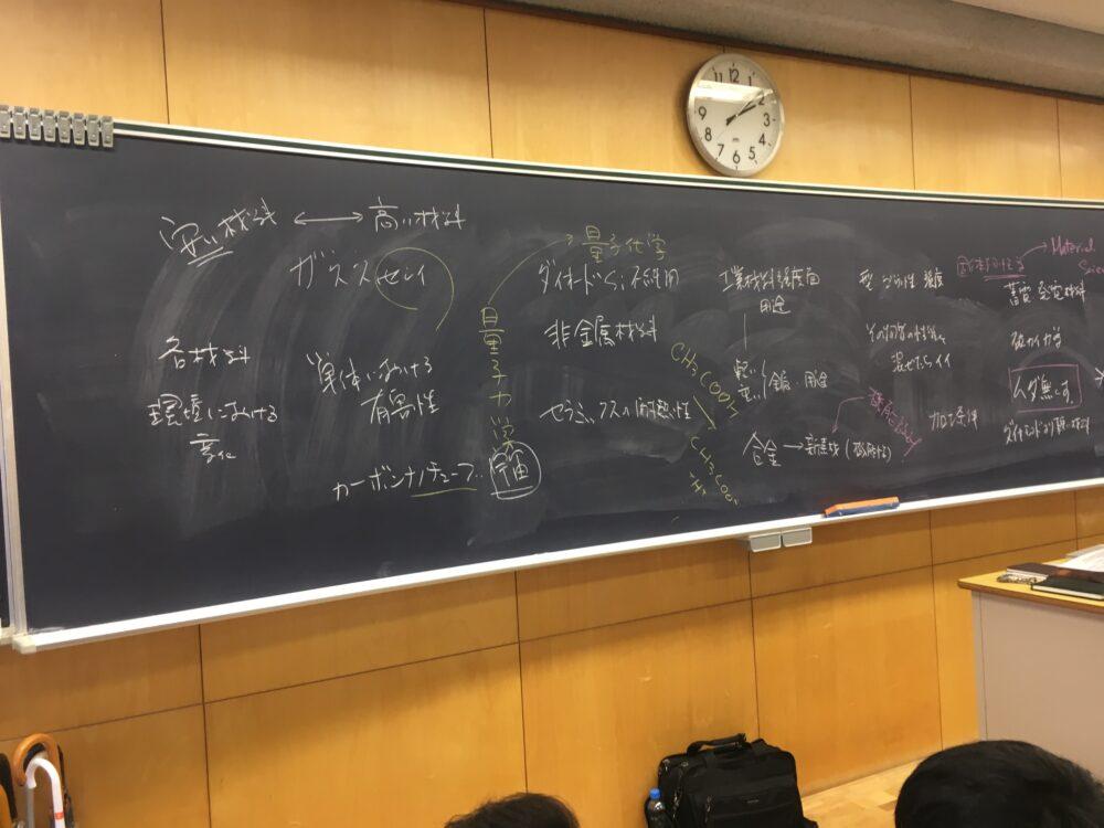 サレジオ高専の授業中の黒板。様々な単語が記載されている。