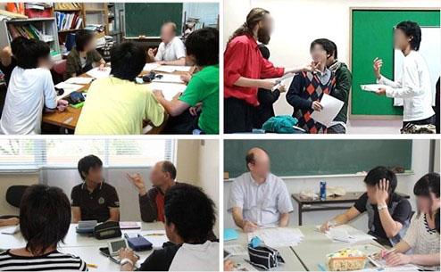 佐世保高専と佐世保基地との間で行われている国際交流。外国人と生き生きと表情豊かに会話する学生たち。
