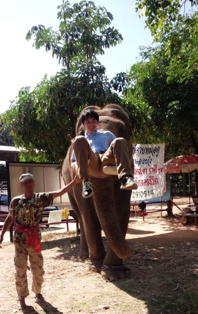 タイにて、象の鼻先に乗る前澤先生。とても笑顔。