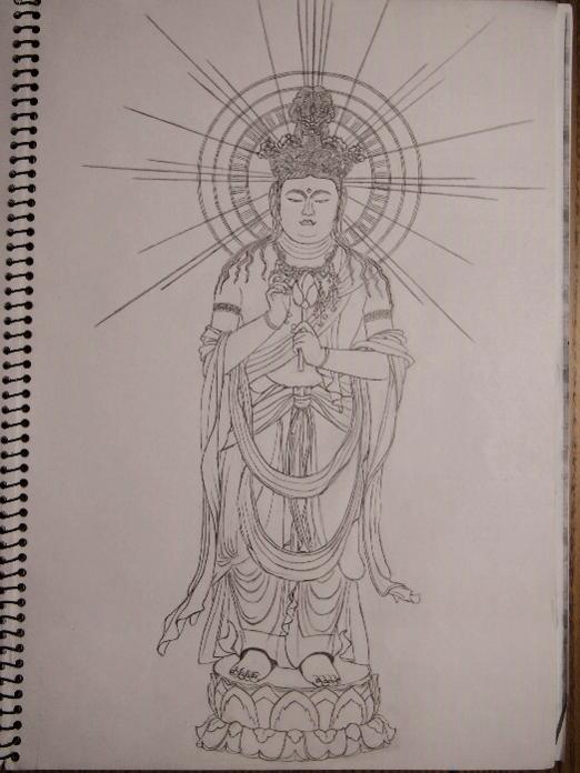 白いキャンバスに鉛筆で描かれた仏像。