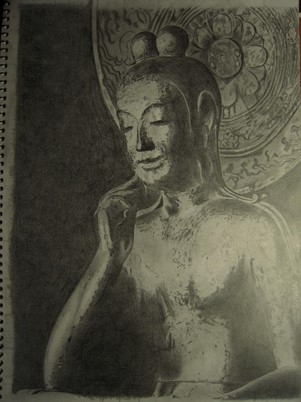 仏像の上半身が鉛筆で丁寧に描かれている。