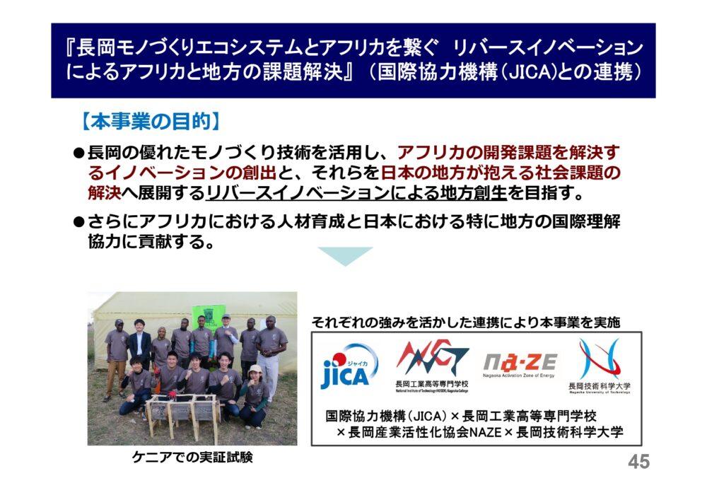 JICAとの連携取組みについて紹介スライド。