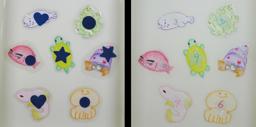 イラストで描かれた動物たち。魚釣りゲームで使用する